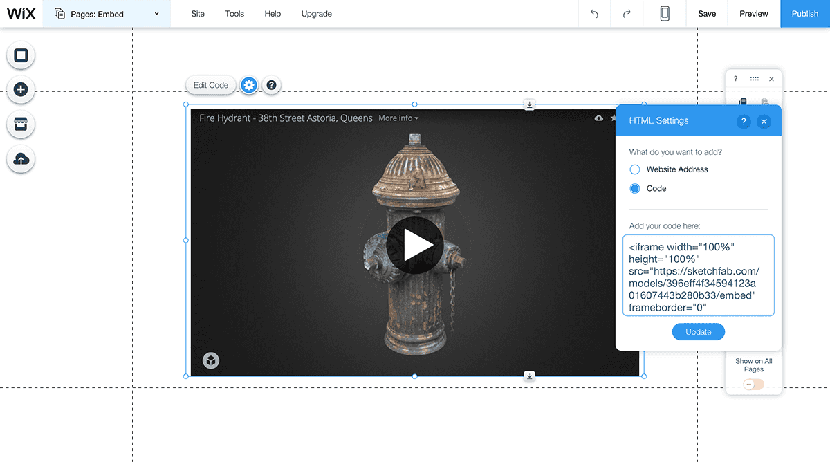 Embed a Sketchfab 3D model in Wix - Edit HTML code