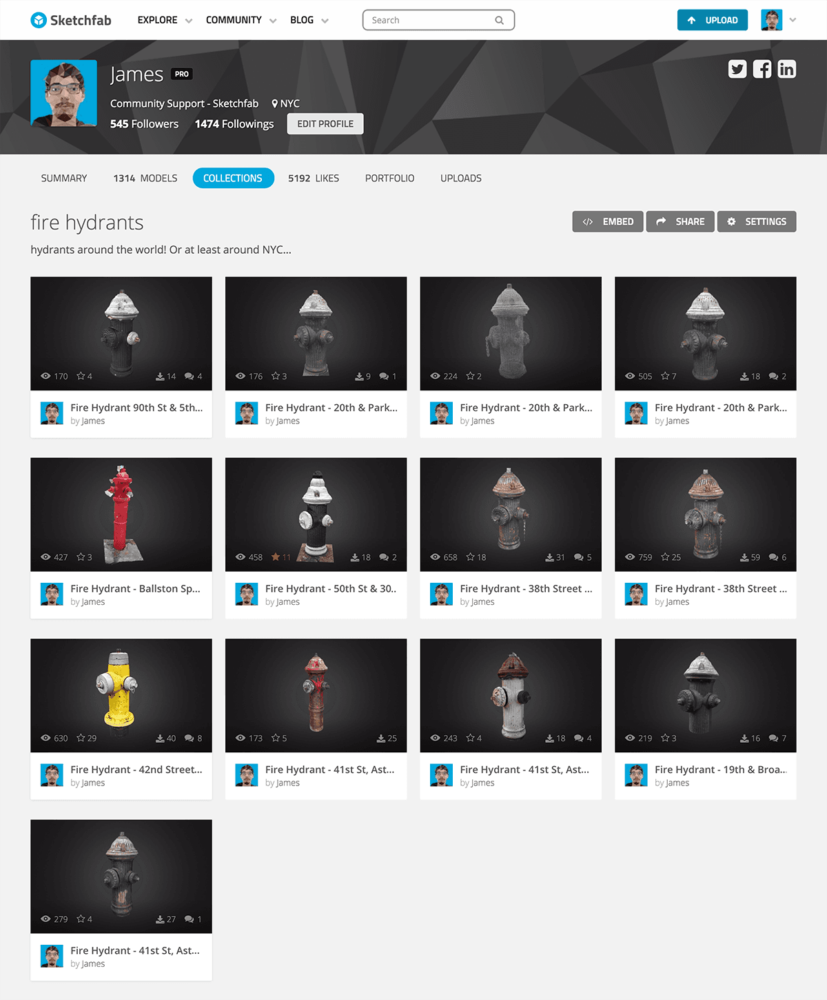Sketchfab 3d model collection page